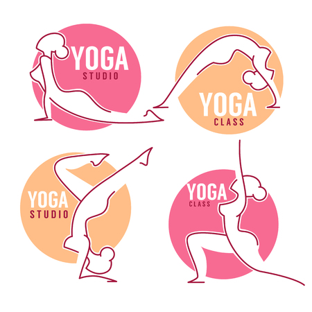 staying fit: Yoga Class, Women Poses For Your Logo Template Line Art Style Illustration