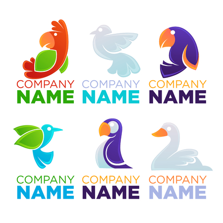 Cartoon Birds Logo, Emblems, Symbols