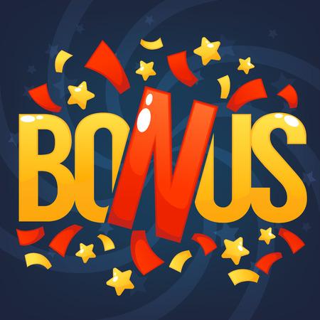 Bonus, Felicitatie Heldere en glanzende banner met belettering samenstelling Stock Illustratie