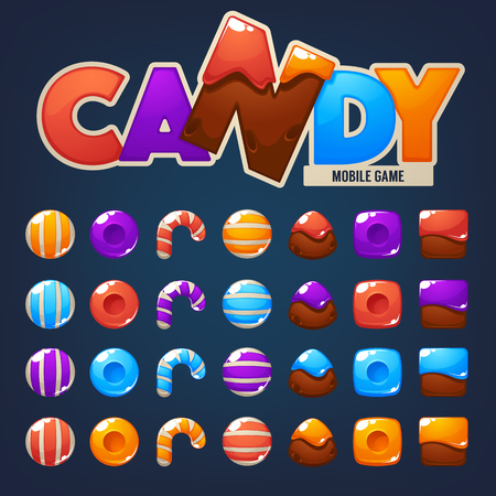 Sweet, glossy and fun, Candy and Chocolate,, bubble shooter, match 3, vector objects and blocks
