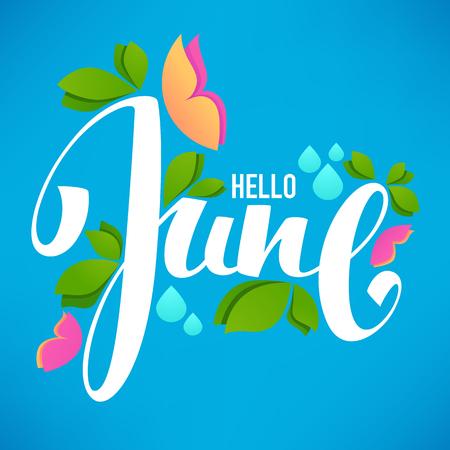 Bonjour juin, Modèle de conception de bannière vecteur avec des images de feuilles vertes, composition lumineuse du papillon et lettrage Vecteurs