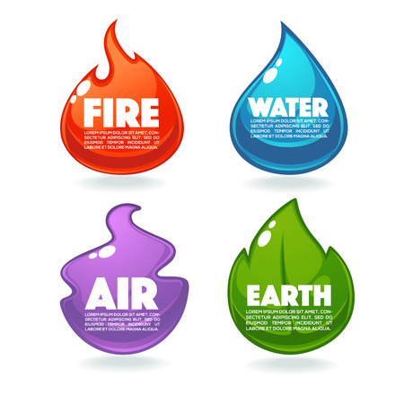 Fire, Air, Earth And Water, Vector Collection Of Nature Elements Illustration