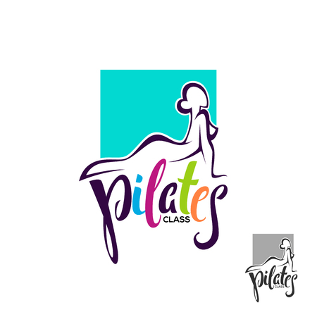 Pilates class, lesson logo template, lettering composition with woman body Stock Vector - 79340380
