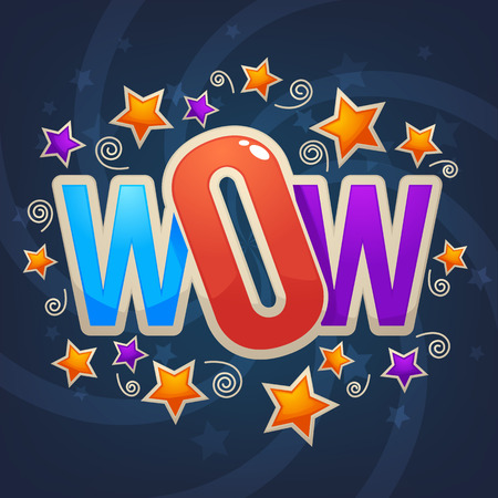 Wow lettering sign with color confetti  and gold stars Imagens - 79340383