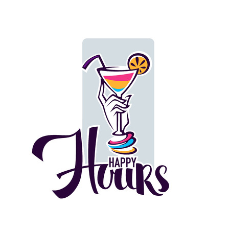 image: take  your summer drink and enjoy our happy hour! vector commercial background