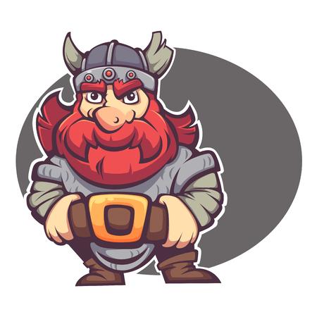 強いヒーロー、あなたのロゴやマスコットのファンタジー小人やバイキングのベクトル画像  イラスト・ベクター素材