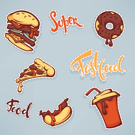 vector collection of ffastfood patch badges with burger, hotdog, soda, pizza and donut Иллюстрация