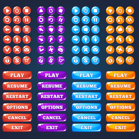Mobile Game Ui, vector collection of icong, and buttons Vectores