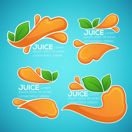 vector collection of bright and shinestickers, emblems and banners for orange fresh juice on blue background Çizim