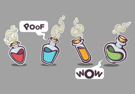 glass chemical bottles with  magical liquid, vector collection
