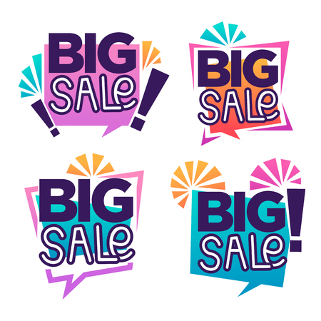 big: Big sale, vector collection of bright discount bubble tags, banners and stickers Illustration