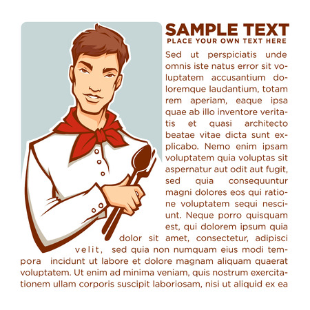 supper: Young chef advice, vector male portrait for your magazine, page, flyer, avatar