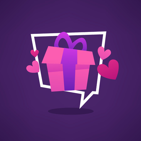 Gift for you, web banner looks like a speech bubble with present box Banco de Imagens - 80955342