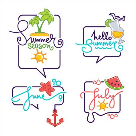 summer season doodle stickers, labels, emblems, logo