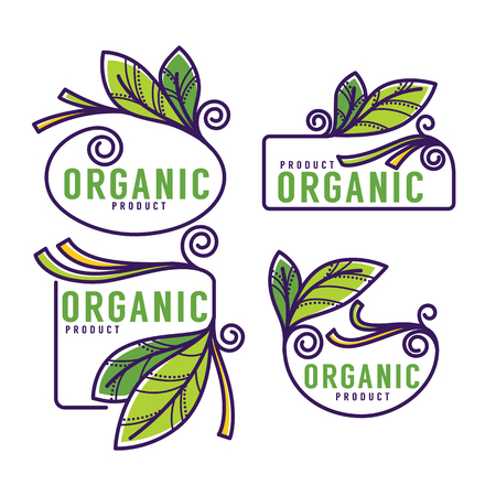doodle organic leaves emblems, elements,  frames and logo