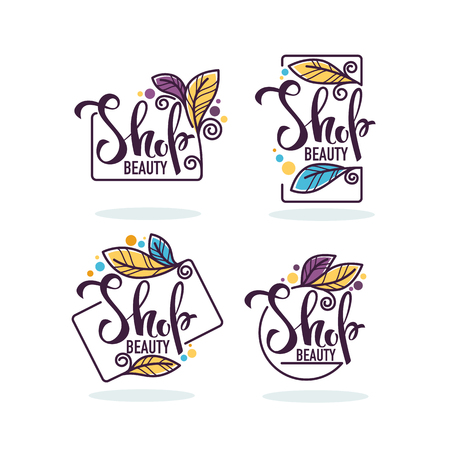 vector collection of doodle flowers emblems frames and logo with beauty shop lettering composition Illustration
