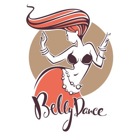 Immagine di signora di danza del ventre testa rossa e composizione scritta per il tuo logo Archivio Fotografico - 81690309