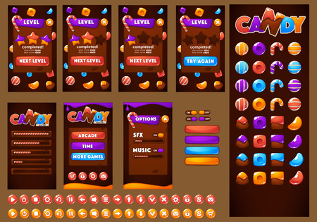 Doux, brillant et amusant, Candy and Chocolate ,, jeu de tir à bulles, match 3, arcade, actif de jeu mobile Banque d'images - 81642450
