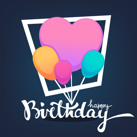 glossy and shine birthday card vector template,with balloon images and happy birthday lettering composition Çizim