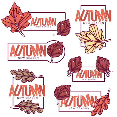 autumn frames, stickers, emblems, fall leaves template, doodle style Illustration