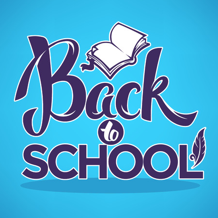 back to school, lettering composition with image of open book on bright blue background for your banner or flyer