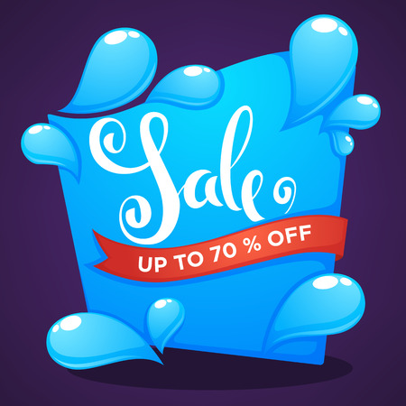 season sale, shine water drop vector discount banner template design with lettering composition on dark background