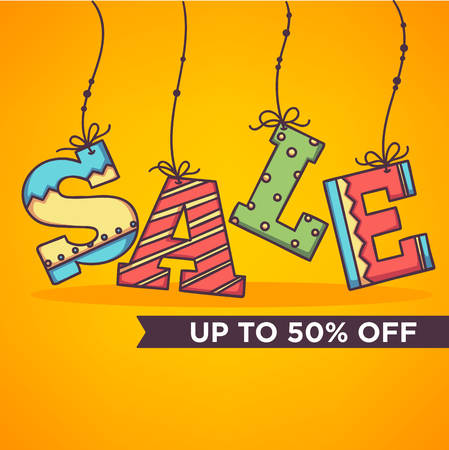 bright and ornamettal sale banner, flyer, template in doodle style Illustration
