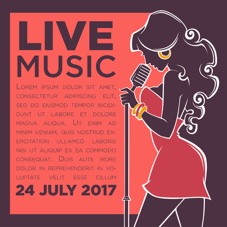 Live Music Show, vector image of vector woman singer silhouette for oyur flyer and banner 向量圖像