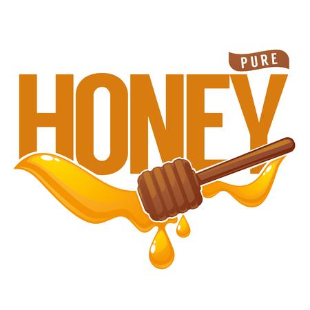 Miel pur, symbole, logo, étiquette, emblème, gouttes de miel et composition de lettrage Banque d'images - 82396588