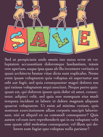 cartoon sale vector banner and flyer template, women hands holding a sale shopping bags
