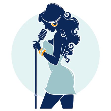 音楽番組、女性歌手のベクトルエンブレム シルエットのベクター画像をライブします。  イラスト・ベクター素材