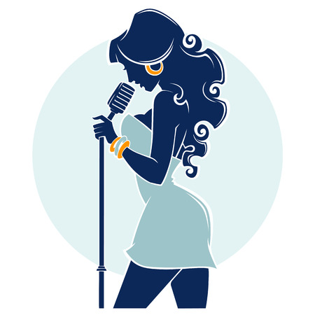 Live Music Show, vector image of vector woman singer silhouette emblem