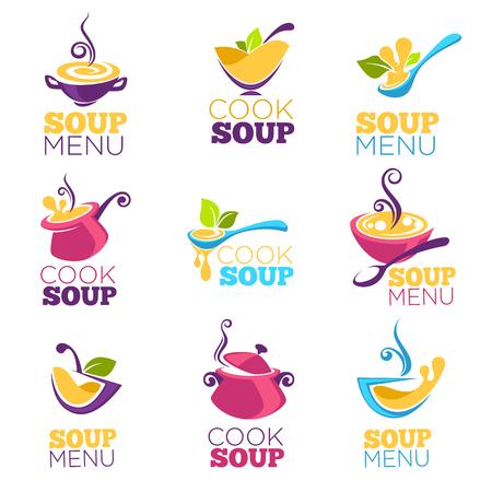 cuire la soupe, collection de vecteur de bol plein de soupe savoureuse pour votre menu, logo, emblèmes et symboles