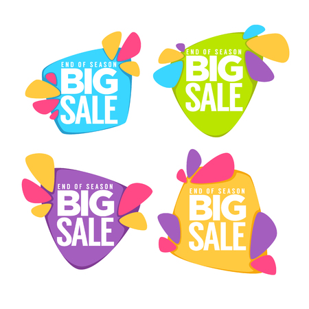 grand sale sticker: end of season, big sale, vector collection of bright discount bubble tags, banners and stickers
