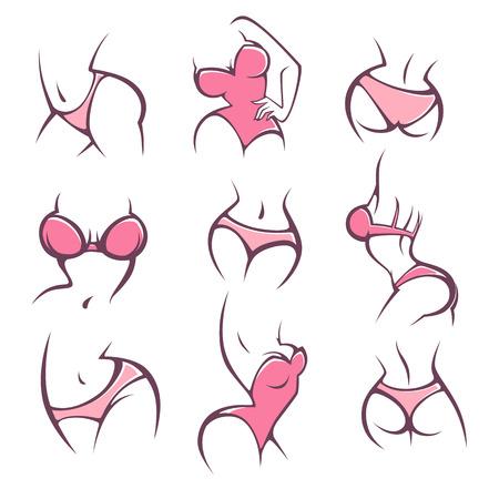 langerie, ondergoed en intieme hygiëne, vector lady vormt collectie voor uw logo Stock Illustratie