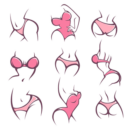lengerie, underwear and intimate hygiene, vector lady poses collection for your logo Ilustracja