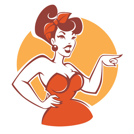 plus size pinup girl in red dress on beige background for your logo or emblem