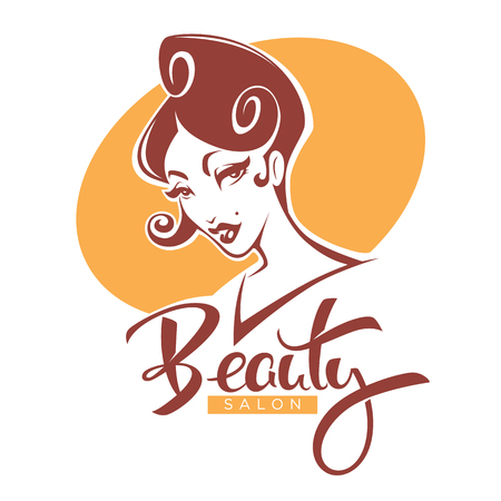 Retro Beauty, vector lady portrait for your beauty salon, product and studio label, logo, emblem Stock Vector - 83158257