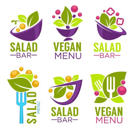 健康的な調理のロゴとサラダバーまたは菜食メニューの有機食品のシンボルのベクトル コレクション