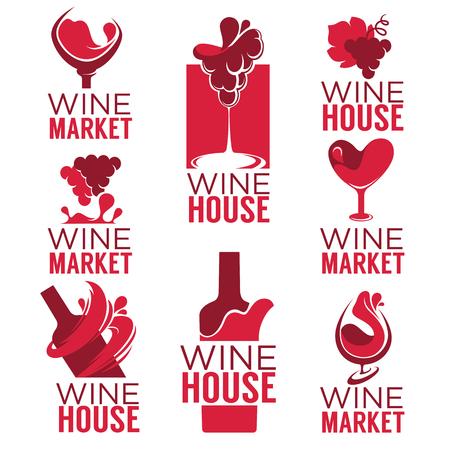 Wine house, red wine bottles and glasses, logo, emblems, labels Ilustrace