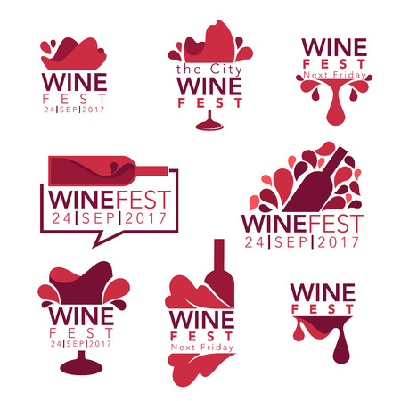 Wine fest, red wine bottles and glasses, logo, emblems, labels. Stock Illustratie