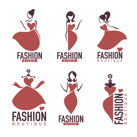 Fashion and beautysalon, studio, boutique logo and emblem collection. Vettoriali