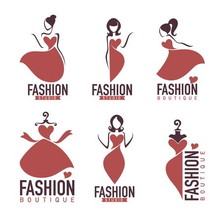 Mode et beautysalon, studio, collection de logo et d'emblème de boutique. Banque d'images - 83586742