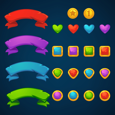 Gold and Gems, tresarues bubble shooter, match 3, vector objects and blocks. Illustration