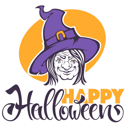 Halloween vector greeting or invitation card with image of old horrible  witch and place for text.