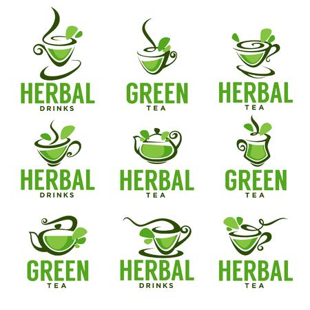 Green,herbal, organic tea, vector logo template design.