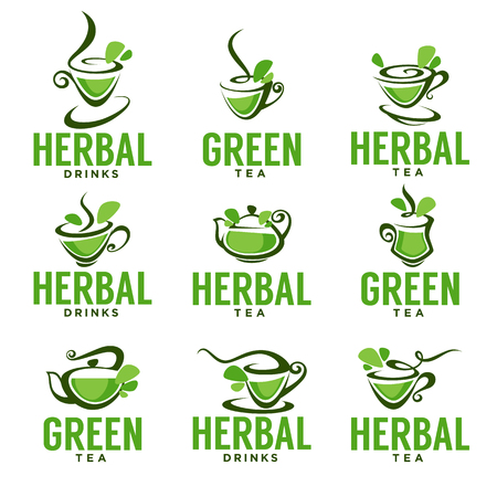 green environment: Green,herbal, organic tea, vector logo template design.