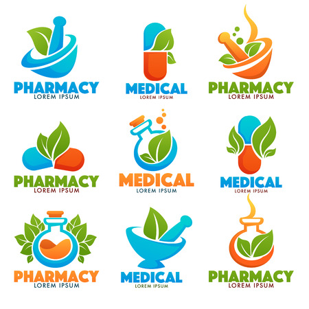 Eco Pharma, glanzende glans Logo sjabloon met afbeeldingen van flessen, ponder, pillen en groene bladeren. Stock Illustratie