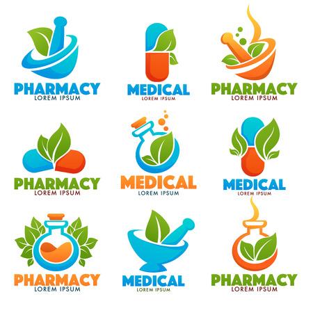 Eco Pharma, Glossy Shine Logo Vorlage mit Bildern von Flaschen, Pfünder, Pillen und grünen Blättern. Standard-Bild - 83586752