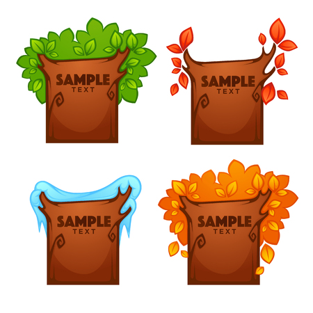 Summer, spring, autumn, winter, banners for your text looking like a season tree. Illustration